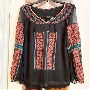 Miss Me Embroidered Peasant Blouse
